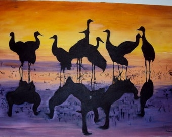 Reflecting Cranes on Beach Oil Painting REDUCED 24 x 30