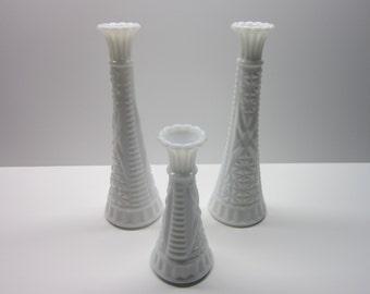 Vintage Milk Glass Vases  Crosshatch flower pattern