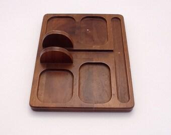 Vintage Valet Tray Desk Cell Phone Desk Holder Genuine Walnut Organizer Decator Industries