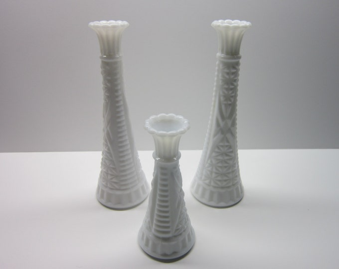 Featured listing image: Vintage Milk Glass Vases  Crosshatch flower pattern