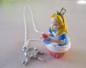 Alice in Wonderland Necklace, Cupcake Necklace, Kawaii Necklace, Fairytale Charm