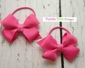Girls Ponytail or Pigtail Bows on Elastic Holder - Pick Your Elastic Color - Hot Pink - Baby, Toddler, Girl, Children