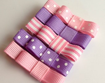 Baby Hair Clips - Baby Pink and Purple Set - Tuxedo Bow Alligator or Snap Hair Clip Set of 5- Baby, Girl, Toddler, Children