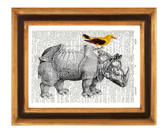 Rhinoceros and Bird Print,  Bird on Rhino, vintage illustration on  upcycled dictionary page, Upcycled Book Print Upcycled Book Art