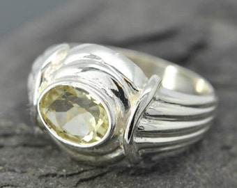 lemon quartz ring, lemon citrine ring, sterling silver ring, yellow rose cut, gemstone ring, one of a kind, quartz, yellow, lime quartz