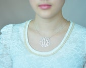 Monogram Jewelry-1.5inch Sterling silver Personalized Necklace for wedding jewelry
