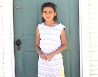 grey and white chevron dress with yellow polka dots for girls great for any season back to school dress