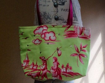 Neon Pink and Green Tote Bag / Summer Bag / Handmade Tote