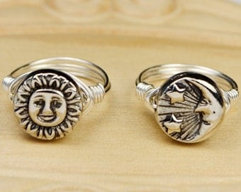 Choose Sun OR Moon Ring- Sterling Silver Filled Wire Wrap Ring with Silver Tonel Bead - Any Size - Size 4, 5, 6, 7, 8, 9, 10, 11, 12, 13, 14