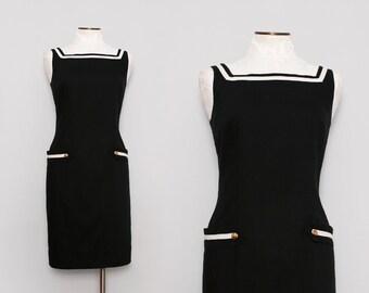 Women's Sailor Dress. Black and White Shift Dress. Little Black Dress. 60s Mod Dress. Summer Dress. Cotton Sundress. Nautical Dress. Large.