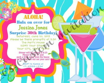 Aloha Drinks Birthday Invitation-YOU PRINT-