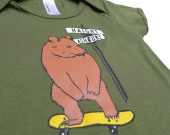 Baby Olive Green Haight Ashbury Bear Bodysuit