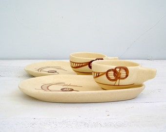 Classic 70s Serving Pottery, Vintage Israel Ceramic Dessert Snack Set, Matching Cup Plate, Beige Brown Coffee Cake Serving Set For Two