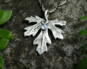 Woodland Leaf Necklace With Moonstone - Made With a Real Leaf - Elven - Silvan Leaf - Artisan Handcrafted with Recycled Fine Silver - Forest