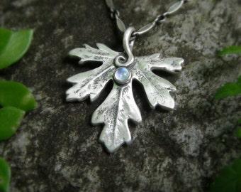 Woodland Leaf Necklace With Moonstone - Botanical Jewelry - Real Leaf - Artisan Handcrafted Recycled Silver- Elven Leaf- Forest- Silvan Leaf