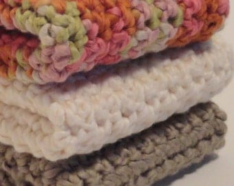 Organic Cotton Crocheted Washcloths Set of Three Autumn Woodland Colors Soft Gentle Brown Ecru Autumn Leaves