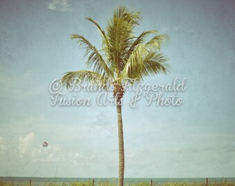 Palm Tree and Parasail Tropical Key West Seascape