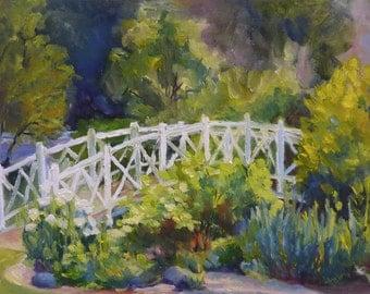 "Original Landscape Oil Painting 8""x10"" Impressionist Bridge in Garden"