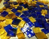 CHRISTMAS BLUE & GOLD Holiday Mosaic Tile Mix Stained Glass
