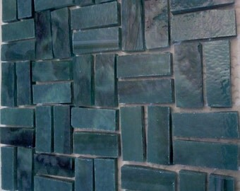 50 Small BORDERS - BLUEGREEN / FOREST Stained Glass Mosaic