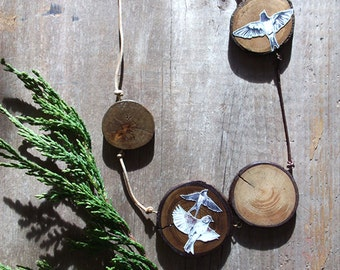 Flocked - Illustrated Wooden Swallow and Sparrow Necklace