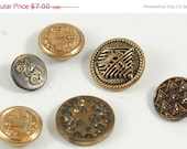 Six Strange Metal Buttons SALE PRICE
