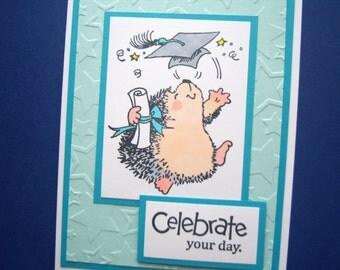 Hedgehog Graduation Card