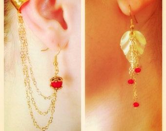 Red and Gold Leaf Asymmetrical Earrings