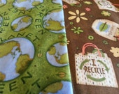 Go Green, Green Planet, I Recycle, Organic,  Fabric Bundle - 4 pieces
