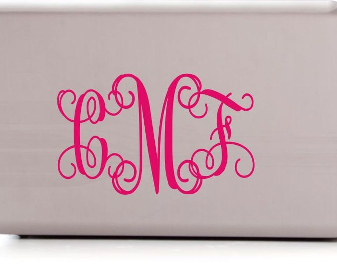 Laptop Decals - Name Wall Decal - Small Decal - Laptop Monogram Wall Decal  - Personalized Decals for Laptop - Car Decal