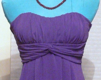 purple short strapless dress size med