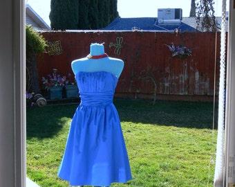 boned strapless blue summer dress size 4