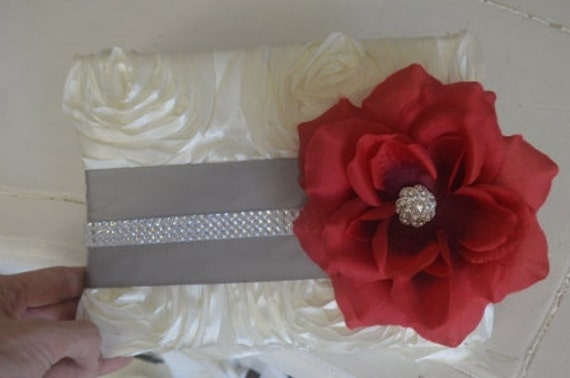 Red and Grey Guest book with rhinestones, ivory rosette satin and red rose with crystal brooch center