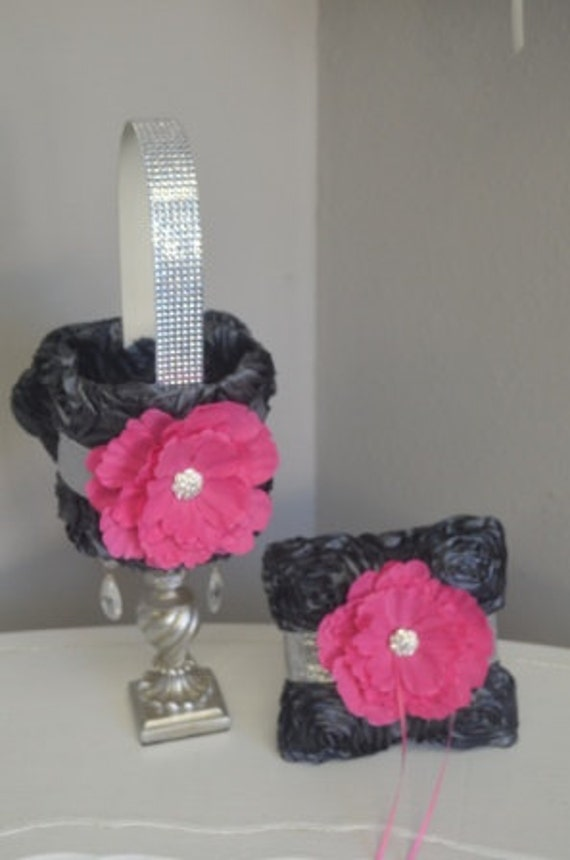 Charcoal and Hot Pink Rosette Flower Girl Basket and ring pillow- with silver glitter ribbon, rhinestone handle and hot pink flower