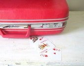 Mid Century Red Pink Luggage Gift for Her Wedding Weekend Travel Storage Itsy Bitsy Polka Dot Suitcase Summer Travel