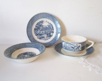 Custom Listing for Jeane  Dinnerware Blue White Transferware China Cups Saucers Currier Ives Dinnerware Serving China Cups Saucers Bow