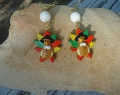 Thanksgiving Holiday Turkey Fall Dangle Earrings