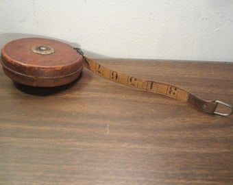 Vintage Measuring Tape in leather case