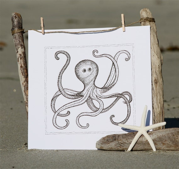 Print of black and white Octopus pen and ink drawing