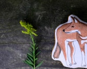 Ethiopian Wolf pillow toy. Hand Drawn Organic Cotton African Animal Toy by AlyParrott on Etsy. Made to order.