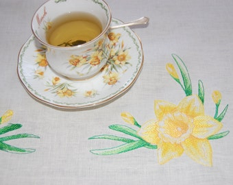 Spring is Coming! Tea Time with Daffodil on the Table - Tablecloth