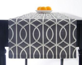 Modern Grey Table Runner, Geometric Table Runner, Grey Tablecloth Grey 72 inch, 90 inch, 108 inch, 120 inch