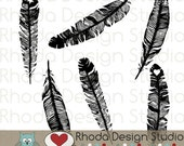 Feathers Digital Clip Art Retro stamps