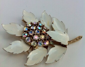 Vintage brooch pin gold ivory leaves AB crystals 1960