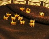 12 Brass 39ss Sew On Chaton Rhinestone Settings