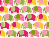 FLANNEL Fat Quarter Fabric Urban Zoologie by Ann Kelle for Robert Kaufman Elephants in Sweet
