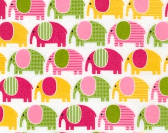 FLANNEL Fabric by the yard Urban Zoologie by Ann Kelle for Robert Kaufman Elephants in Sweet 1 yard