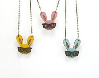 Nerd Bunny Necklace - Handmade - Laser Cut Jewelry - Laser Cut