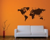 World Map Wall Decal Vinyl, Removable, World Map Decals, World Map Stickers, World Map Wall