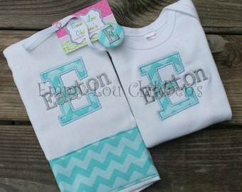 Monogrammed & Personalized Baby Gift Set - Set One Burp Cloth, One Pacifier Clip and One Onesie